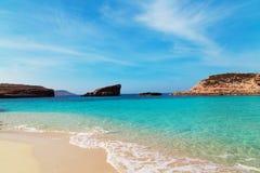 Голубая лагуна на острове Comino, Мальте Стоковые Изображения