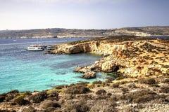 Голубая лагуна, остров Comino, Мальта Стоковое Фото