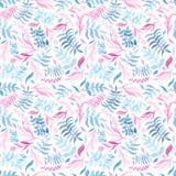 Голубая акварели нежная и розовая картина повторения листвы бесплатная иллюстрация