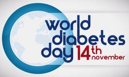 Голубая дата круга, глобуса и напоминания диабета дня мира, иллюстрации вектора Стоковые Фотографии RF