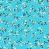 Голубая безшовная ретро предпосылка цветка Стоковое Изображение RF