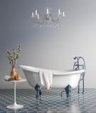 Голубая ванная комната с винтажной ванной Стоковая Фотография