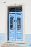 голубая дверь деревянная Стоковая Фотография