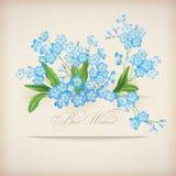 Голубая весна цветет поздравительная открытка незабудки Стоковая Фотография