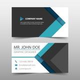 Голубая визитная карточка корпоративного бизнеса треугольника, шаблон карточки имени, горизонтальный простой чистый шаблон дизайн иллюстрация штока