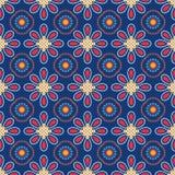 Голубая винтажная предпосылка с цветками Стоковое Изображение RF