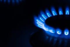 голубая горелка пылает газ Стоковая Фотография