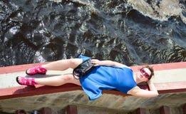 голубая девушка платья Стоковое Изображение RF