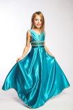 голубая девушка платья Стоковая Фотография RF
