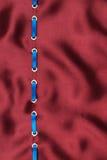 Голубая лента сатинировки введенная в кольца золота на красном шелке Стоковые Изображения RF