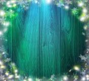 Голубая деревянная предпосылка рождества Ноча и снег Новый Год Стоковые Фотографии RF