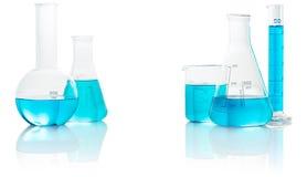голубая жидкость лаборатории стеклоизделия Стоковое Фото