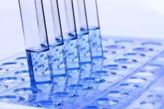 Голубая жидкость в инструментах для тестирования лаборатории стеклянной лампы на пластичном держателе стойки Стоковые Фотографии RF