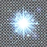 Голубая звезда на прозрачной предпосылке Стоковая Фотография RF