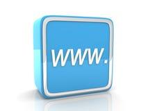 Голубая икона WWW Стоковое Изображение