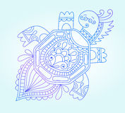Голубая линия чертеж морского чудовища, подводный Стоковая Фотография