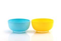 Голубая и желтая чашка Стоковые Фото