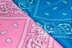 Голубая и розовая предпосылка пестрого платка Стоковое Изображение