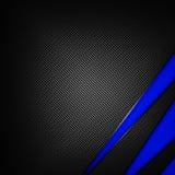 Голубая и черная предпосылка волокна углерода Стоковая Фотография