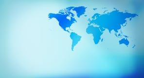 Голубая карта мира предпосылки представления Стоковая Фотография
