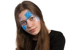 Голубая картина стороны флористического орнамента Стоковое Изображение RF