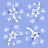 Голубая картина с Poinsettia и снежинками иллюстрация штока