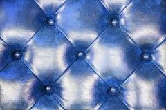 Голубая кожаная предпосылка софы драпирования для украшения Стоковые Изображения