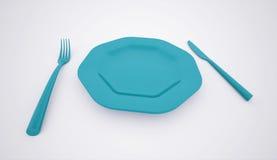 Голубая концепция плиты и столового прибора Стоковая Фотография
