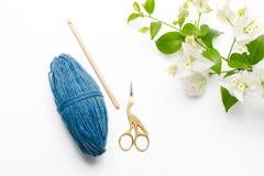 Голубая крася пряжа Стоковая Фотография