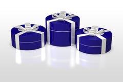 Голубая круглая подарочная коробка с белой лентой Стоковое фото RF