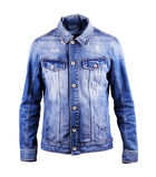 Голубая куртка джинсовой ткани, изолят на белой предпосылке стоковые изображения