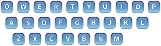 Голубая клавиатура значков сети Стоковое Изображение RF