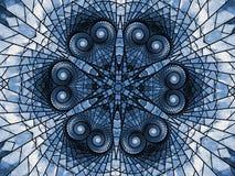 Голубая мандала сделанная сердец Стоковые Изображения RF