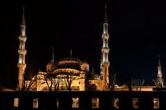 Голубая мечеть в Стамбуле на ноче стоковое изображение rf
