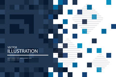 Голубая мозаика, абстрактная квадратная предпосылка пикселов Стоковая Фотография