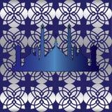 Голубая мусульманская безшовная картина Стоковые Фото