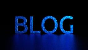 Голубая надпись с отражением Блог Графическая иллюстрация перевод 3d Справочная информация Стоковые Фотографии RF