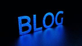 Голубая надпись с отражением Блог Графическая иллюстрация перевод 3d Справочная информация Стоковое Изображение