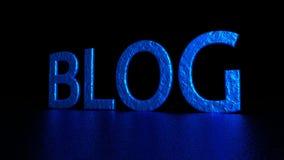 Голубая надпись с отражением Блог Графическая иллюстрация перевод 3d Справочная информация Стоковые Изображения