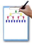Голубая доска сзажимом для бумаги пишет маркетинг человеческой сети. Стоковая Фотография RF