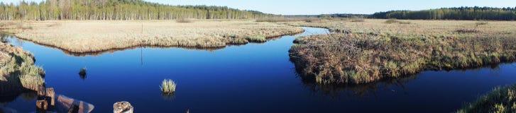 Голубая панорама водного пути Стоковое фото RF