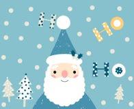 Голубая поздравительная открытка Санты рождества Иллюстрация штока