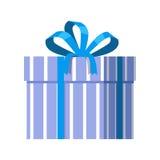Голубая подарочная коробка с голубой лентой Стоковые Изображения