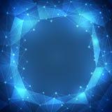 голубая предпосылка абстрактной технологии 3D с кругами, линиями и формами Стоковые Изображения