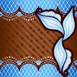 Голубая предпосылка воодушевленная индийскими дизайнами mehndi Стоковое Изображение