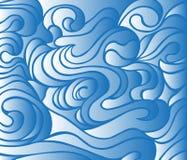 Голубая предпосылка волны, яркая безшовная абстрактная картина Стоковое Изображение RF