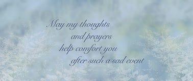 Голубая предпосылка карточки сочувствию соболезнования Стоковые Изображения RF