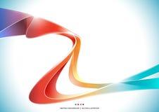 Голубая предпосылка конспекта ленты нашивки волны оранжевого красного цвета фиолетовая красочная, прозрачная иллюстрация вектора бесплатная иллюстрация