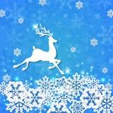 Голубая предпосылка рождества с оленями Стоковые Изображения