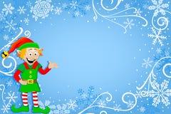 Голубая предпосылка рождества с эльфом Стоковые Изображения